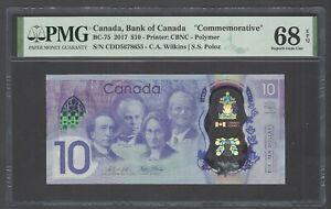 Canada 10 Dollars 2017 BC-75 Unciruclated Grade 68