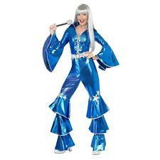 70's Dancing Dream Queen Waterloo Blue Womens Ladies Fancy Dress Costume