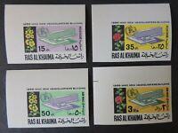 UAE Ras Al Khaima 1966 WHO flowers set of 4 imperf MNH