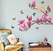 X-Large Pink Magnolia Tree Flower Butterfly Wall Stickers Home Decor Wallpaper