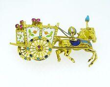 18k Yellow Gold ANTIQUE Enamel Retro Horse Drawn Cart Three-Dimensional Brooch