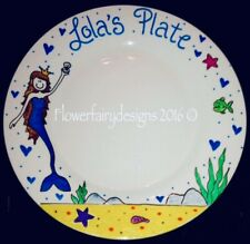 Personalised And Hand Painted Mermaids Themed Dinner Plate
