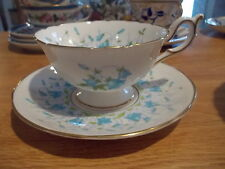 COALPORT Harebell Cup & Saucer - Turquoise Flowers, Green Leaves, Scalloped
