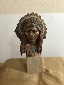 1995' Pardell Native American Sitting Bull 26/2500 Bronze Bust W/Some Damage
