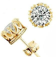 925 Sterling Silver CZ Simulated Clear Crown Wedding Stud Earrings Gold/Silver
