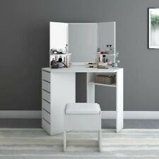 Modern Corner Dressing Table Makeup Curved Mirror with Stool Shape