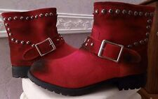Kelsi Dagger Max Red Ankle Boots with Decorative Rivets, Size 6.5, New