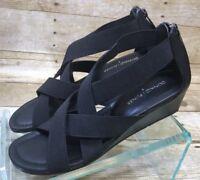 Donald J. Pliner Women Didi Black Wedge Sandals  Size 8M Zip Heel