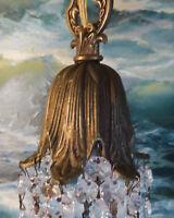 Vintage lily Brass bronze SWAG play room light lamp Chandelier crystal prisms