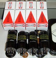 4 new 6V6GTA Raytheon a factory matched quad BLACK GLASS tubes NOS NIB USA