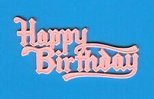 10 PINK HAPPY BIRTHDAY FLAT MOTTO - cake decoration / decorating / card making