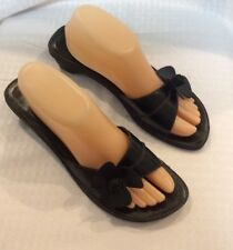 EUC SOFT Style By Hushpuppies Womens Heeled Black Slide Sandals Size 9.5M