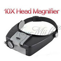 10x Magnifying Glass LED Light Head Headband Magnifier Loupe W/ Sunshield