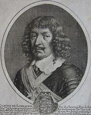 CLAUDE DE LORRAINE DUC DE CHEVREUSE. Portrait. Gravure originale de 1650.