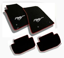 NEW! 1964-1973 Black Floor Mats Mustang Pony Embroidered Logo /red Binding Set 4