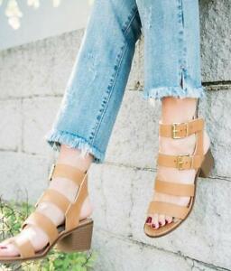 The Buckle x Zigi Soho Womens Taszia Heeled Leather Sandals Shoes US 8.5