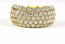 Round Diamond 5 Row Cluster Lady's Ring Band 14k Yellow Gold 3.62Ct