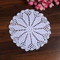 "8"" Dia White Round Pure Cotton Hand Crochet Floral Lace Doily Placemat Table Mat"