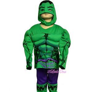 Muscle Incredible Hulk Avenger Superhero Costume Halloween Party Size 3T-7 #033B