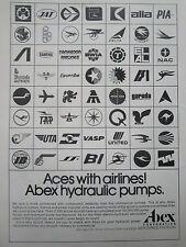 7/1976 PUB ABEX AEROSPACE AIRLINES PIA EL AL SABENA ALIA UTA BWIA ORIGINAL AD