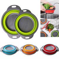 Collapsible Colander Fruits Vegetable Strainer Round Folding Drain Bowl #D