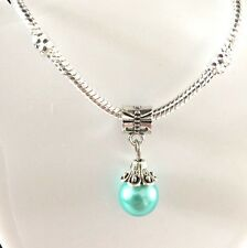 """""""Awe Shucks"""" 925 Silver Bracelet with Turquoise Bead Charm New"""