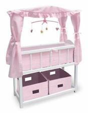Canopy Doll Crib with Baskets, Bedding, and Mobile - White/Pink  01681