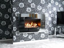 ROYALE GAS FIRES WALL HUNG HOLE IN THE WALL  BLACK GLASS FRAME + 5 YEAR WARRANTY