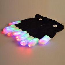 1Pc NEW LED Rave Flashing Gloves Glow 7 Mode Light Up Finger Lighting Mitt Black