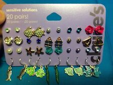 20 Pairs Claire's Sensitive Solutions Fish Studs And Ball Dangling Earrings New!