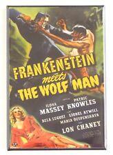 Frankenstein Meets the Wolf Man FRIDGE MAGNET (2 x 3 inches) movie poster