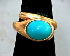 Turquoise 18K Gold Ring by UNO-A-ERRE Italy Marked 750 Womens Size S Adjustable