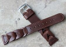 Thick leather stitched & braided 18mm vintage watch strap 1960s/70 New Old Stock