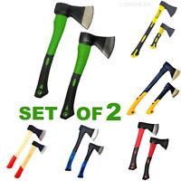 Set of 2 Hand AXE Hatchet Fibreglass Rubber or Wood Shaft Chopper Split Kindling