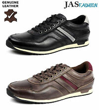Mens Casual Leather Lace Up Comfort Trainers Sport Fashion Shoes UK Size 7-11