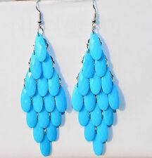 RF SKY BLUE Peacock  Tail Style Light Alloy Stone Long Dangle Hook Drop Earrings