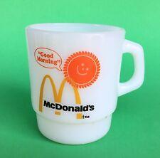 Vtg Fire King McDonalds Good Morning Milk Glass Anchor Hocking Mug Made In USA