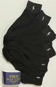 Polo Ralph Lauren Athletic 6-Pair Men's Quarter Crew Socks Black with Gray Pony