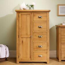 Woburn Oak Solid Wood 1 Door 5 Drawer Combination Wardrobe Bedroom Storage