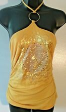 Women's BABY PHAT Yellow & Sparkle Gold with Rhinestones Halter Tank Top Size M