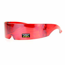 Futuristic Robotic Daft Punk Monoblock Shield Rimless Wrap Sunglasses Red