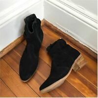 A/ Anthropologie Suede Black Zip Heeled Scrunched Ankle Booties size 38 US 8