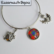 Scottish Silver Bangle Bracelet with Tartan, Bagpipe & Thistle Outlander Jewelry