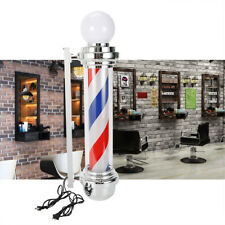 "32"" Outdoor Barber Pole Rotating Light Salon Sign Illuminated Red White Blue Led"