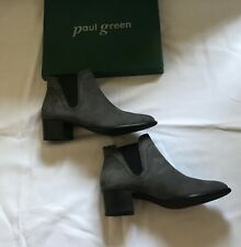 Paul Green Grey Nubuck Leather Chelsea Ankle Boot UK Size 5.5