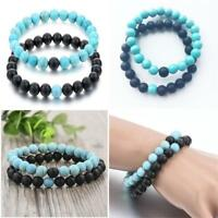 2 Distance Bracelets Lovers / Couples Matching Gift Matte Agate 8mm Bead Stone
