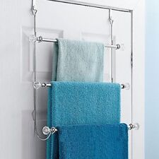 Over the Door 3 Towel Rack Bathroom Shelf Organizer Holder Bath Storage Triple