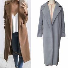 Women Winter Warm Wool Lapel Long Coat Waterfall Cardigan Outwear Overcoat Coat.