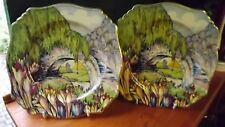 Vintage Royal Winton PAIR of hand painted  plates Bridge & Crocus  Fully Stamped