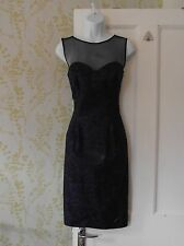 UNTOLD blue & black flock party dress, sweetheart sheer black décolletage UK 10